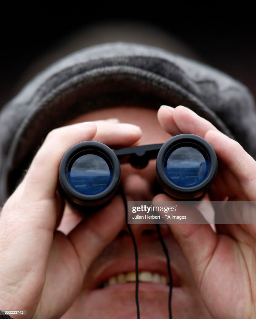 A racegoer watches The Sky Bet Supreme Novices' Hurdle Race run during Champion Day of the 2017 Cheltenham Festival at Cheltenham Racecourse.