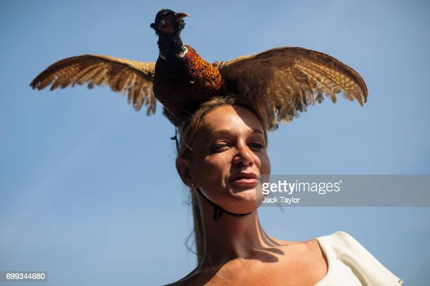 A racegoer wearing a pheasant hat attends Royal Ascot 2017 at Ascot Racecourse on June 21 2017 in Ascot England The fiveday Royal Ascot meeting is...