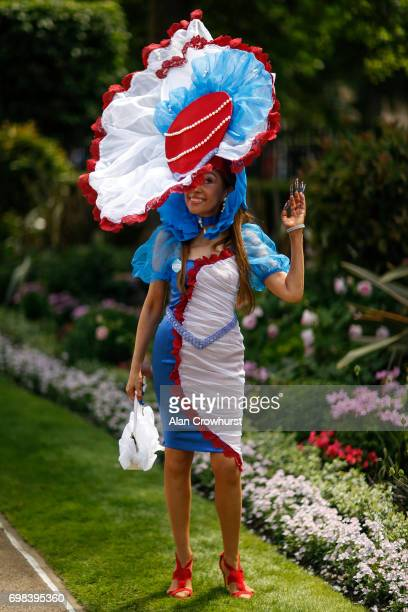 A racegoer wears a colourful outfit on day 1 of Royal Ascot at Ascot Racecourse on June 20 2017 in Ascot England
