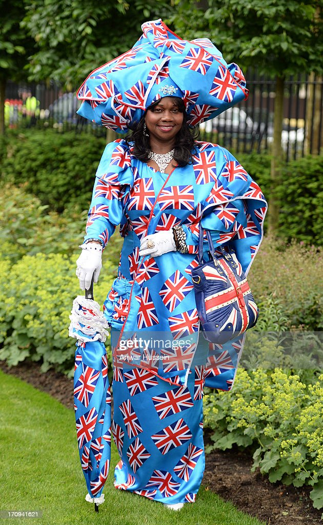 A racegoer wears a patriotic outfit for Ladies Day on Day 3 of Royal Ascot at Ascot Racecourse on June 20, 2013 in Ascot, England.