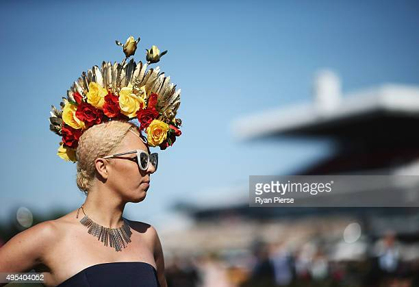 Racegoers arrive on Melbourne Cup Day at Flemington Racecourse on November 3 2015 in Melbourne Australia