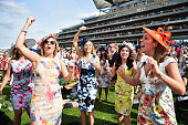 Racegoers attend Ladies Day at Royal Ascot Racecourse on June 18 2015 in Ascot England The Royal Ascot horse race meeting runs from June 16 2015...