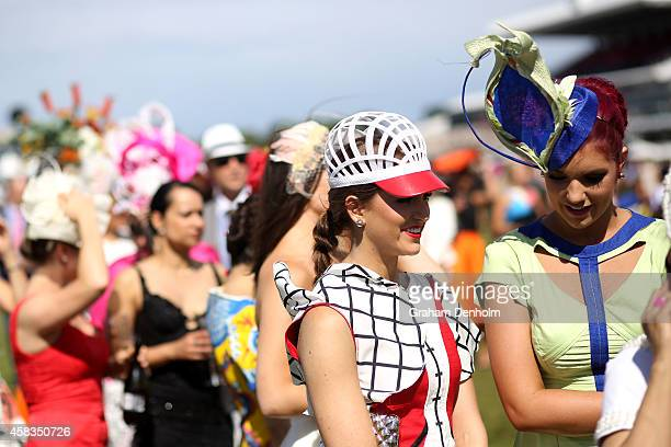 Racegoers attend Melbourne Cup Day at Flemington Racecourse on November 4 2014 in Melbourne Australia
