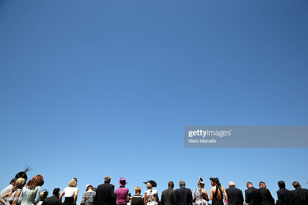 Racegoers attend Victoria Derby Day at Flemington Racecourse on November 2, 2013 in Melbourne, Australia.