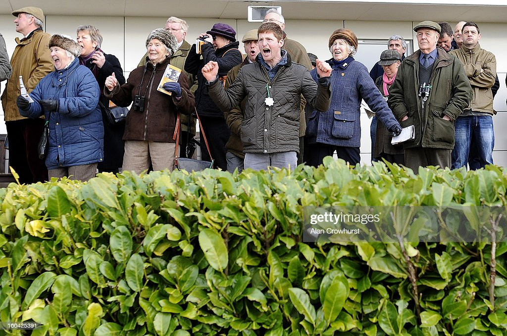 Racegoers cheer home the winner at Wincanton racecourse on January 31, 2013 in Wincanton, England.