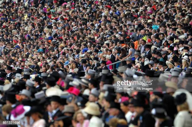 Racegoers during The Diamond Jubilee Stakes on day five of the Royal Ascot meeting at Ascot Racecourse Berkshire