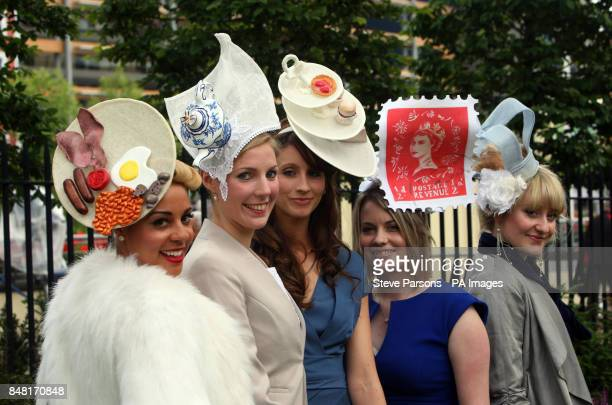 Racegoers Ebony Silk Amy Stephenson Dr Jenifer Munkley Charlotte Munkley and Jane Elwell show off their hats during day three of the 2012 Royal Ascot...