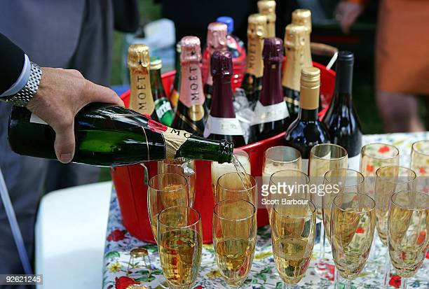 Racegoers enjoy a champagne breakfast in the members carpark during the 2009 Melbourne Cup Day meeting at Flemington Racecourse on November 3 2009 in...