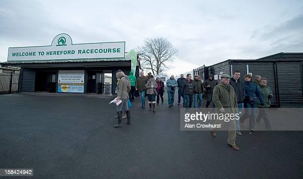 Racegoers leave after the last race during the last meeting to be held at Hereford racecourse after 241 years of racing on December 16 2012 in...