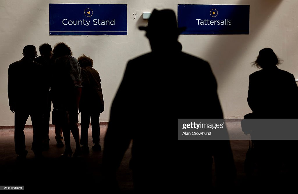 Racegoers make their way under the course to a choice of enclosures at Chester racecourse on May 4, 2016 in Chester, England.