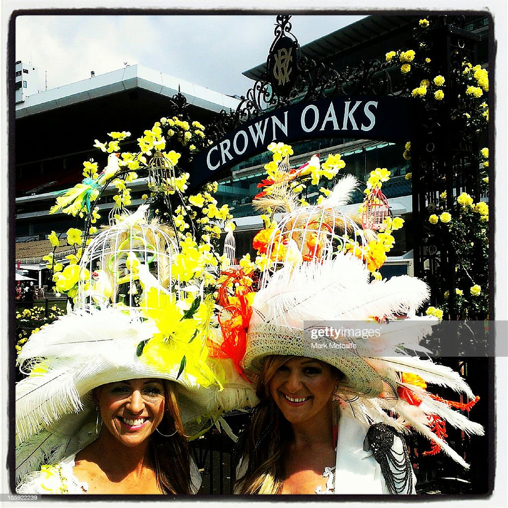 Racegoers pose in their hats during Crown Oaks Day at Flemington Racecourse on November 8, 2012 in Melbourne, Australia.