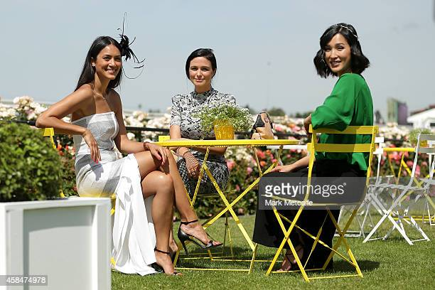 Racegoers pose on Oaks Day at Flemington Racecourse on November 6 2014 in Melbourne Australia
