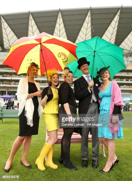 Racegoers Sarah Durrant Sarah Flavell Gillian Rosen James Hughes and Ellen Hoyle arrive on day four of the Royal Ascot Meeting at Ascot Racecourse...