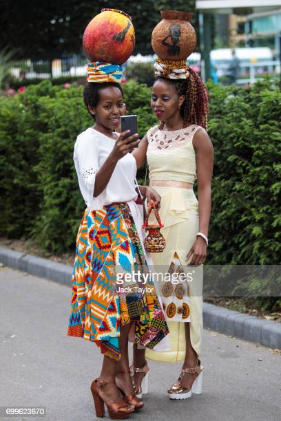 Racegoers take a selfie on day 3 of Royal Ascot at Ascot Racecourse on June 22 2017 in Ascot England The fiveday Royal Ascot meeting is one of the...