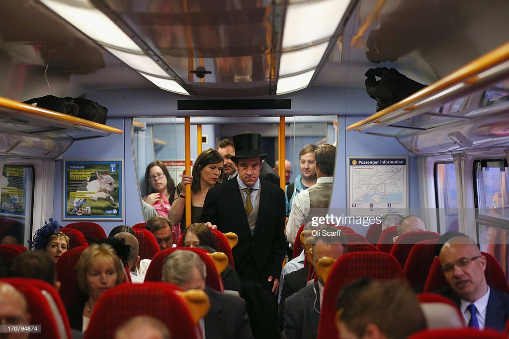 Racegoers travel by train from Waterloo station to Ascot racecourse to attend Royal Ascot on June 18, 2013 in London, England. The 'Royal Ascot' horse race meeting runs from June 18, 2013 until June 22, 2013 and has taken place since 1711. The racecourse is expected to welcome around 280,000 racegoers over the five days, including Her Majesty The Queen and other members of the Royal Family.