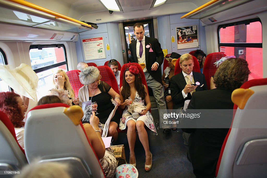 Racegoers travel by train from Waterloo station to Ascot racecourse to attend Royal Ascot on June 20, 2013 in Ascot, England. The 'Royal Ascot' horse race meeting runs from June 18, 2013 until June 22, 2013 and has taken place since 1711. The racecourse is expected to welcome around 280,000 racegoers over the five days, including Her Majesty The Queen and other members of the Royal Family.