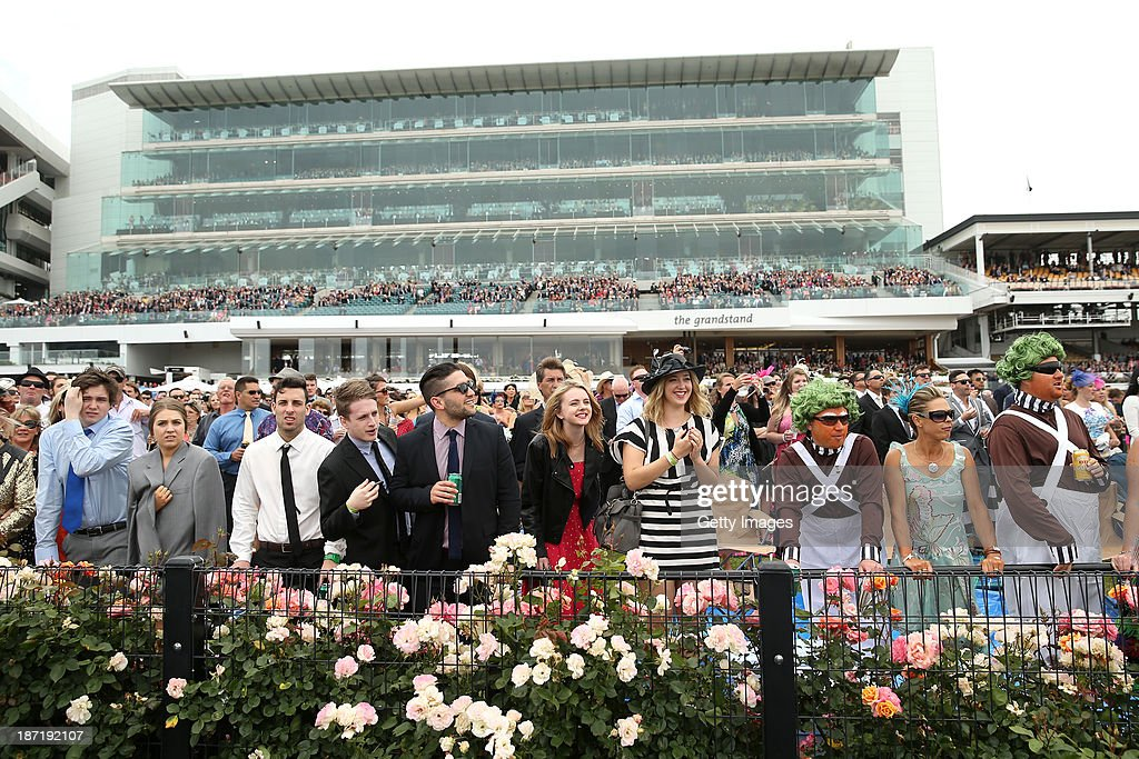 Racegoers watch the action during Crown Oaks Day at Flemington Racecourse on November 7, 2013 in Melbourne, Australia.