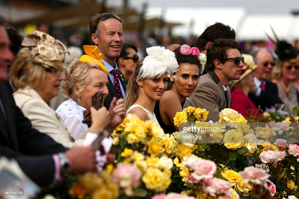 Racegoers watch the action during Oaks Day at Flemington Racecourse on November 7, 2013 in Melbourne, Australia.