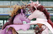 Racegoers wear matching horse themed hats for Ladies Day at Royal Ascot on June 21 2007