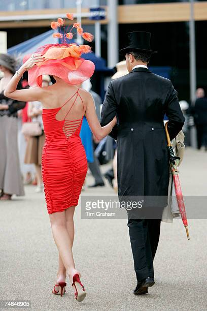 Racegoers wears traditional Ascot fashions to Ladies Day of Royal Ascot Races on June 21 2007 in Ascot England