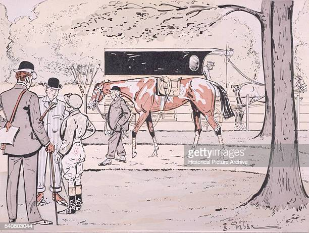 A racehorse is paraded around a paddock while its rider discusses tactics with the animal's owner