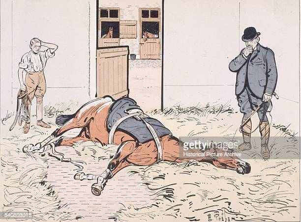A Racehorse Lies Sick in a Stable as His Trainer Looks On