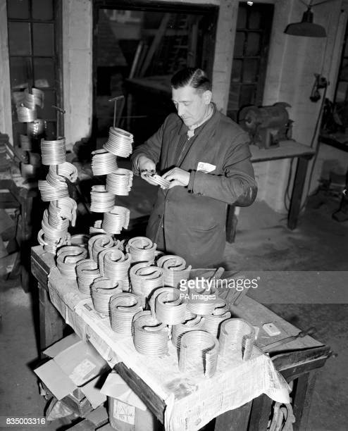 Racehorse plater Dick Culpin in his Nottingham workshop where in readiness for the flatracing season he is busy making the light alloy plates worn by...