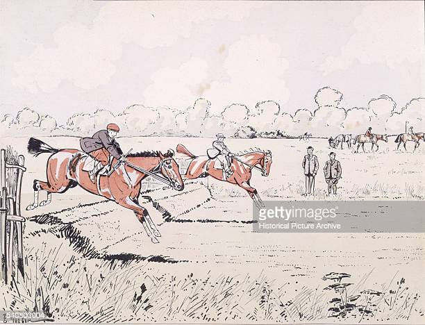 Racehorses Are Taken Over a Jump During Training