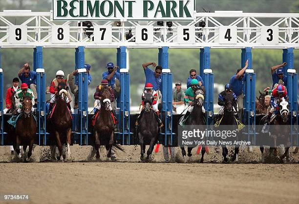 Racehorses explode from the starting gates as the 137th running of the Belmont Stakes gets under way at Belmont Park in Elmont NY From left to right...
