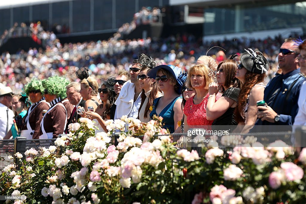 Raceogoers enjoy the atmosphere during Emirates Melbourne Cup Day at Flemington Racecourse on November 5, 2013 in Melbourne, Australia.