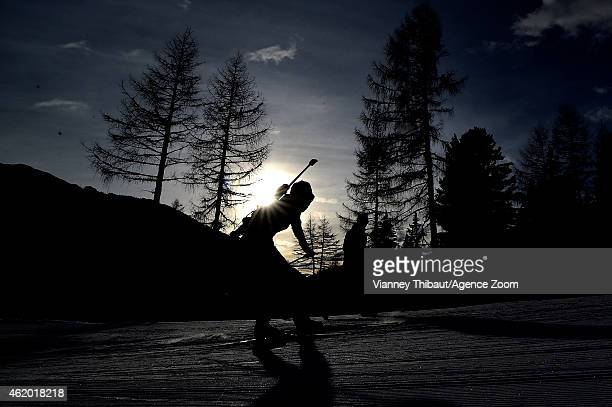A racer competes during the IBU Biathlon World Cup Women's Sprint on January 23 2015 in AntholzAnterselva Italy