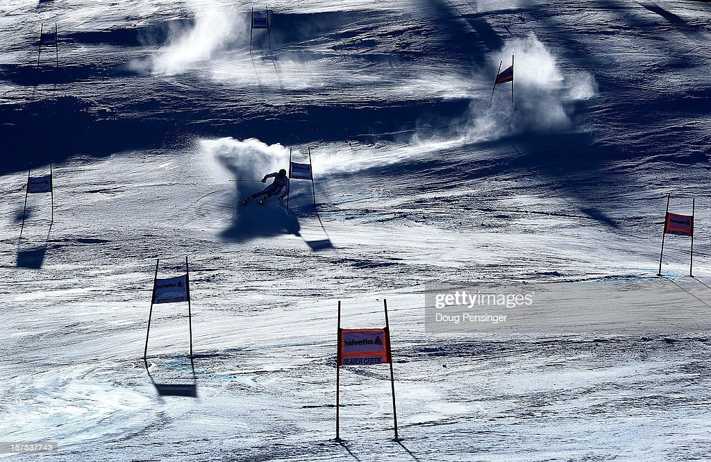 A racer descends the course during the first run of the men's Giant Slalom at the Audi FIS World Cup on December 2, 2012 in Beaver Creek, Colorado.