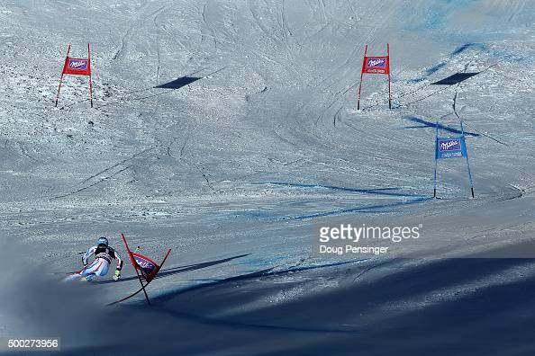 A racer descends the course during the second run of the giant slalom at the 2015 Audi FIS Ski World Cup on December 6 2015 in Beaver Creek Colorado