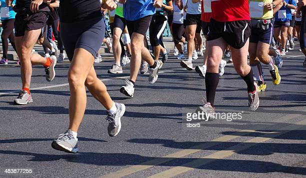 Rennteilnehmer gefrorene in-Zeit beim marathon