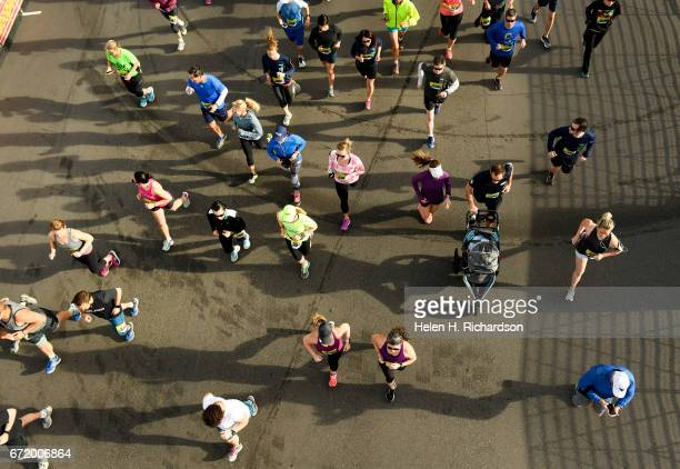 Racers get into their stride at the start of the 35th annual Cherry Creek Sneak 10 mile race on April 23 2017 in Denver Colorado The popular annual...