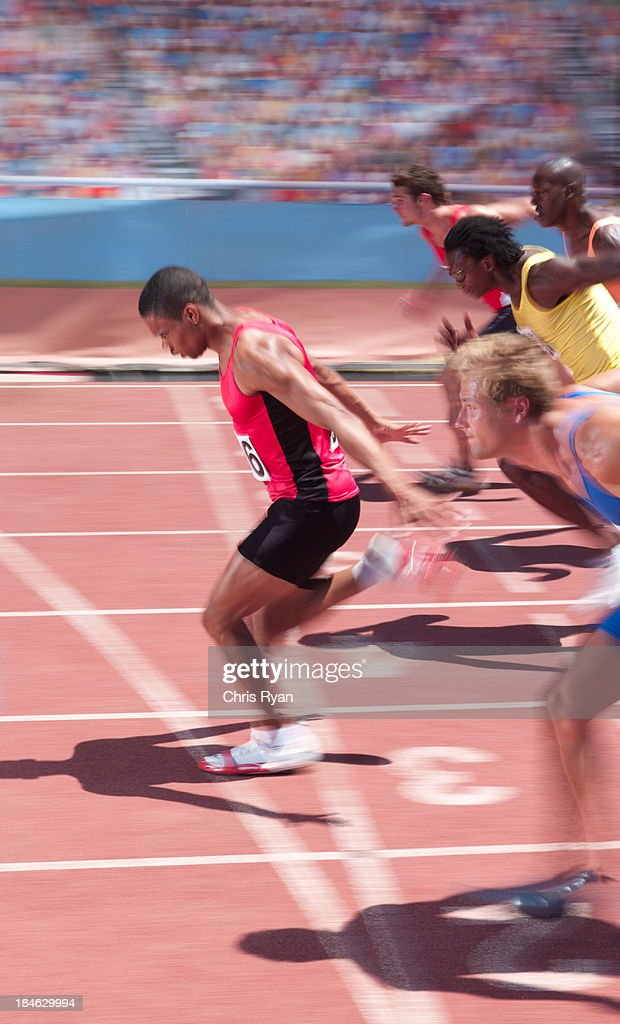 Racers on a track : Stock Photo