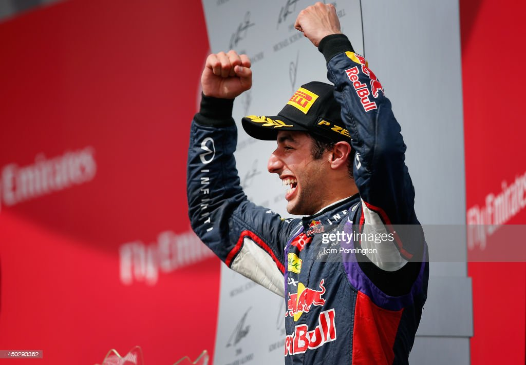 Racewinner Daniel Ricciardo of Australia and Infiniti Red Bull Racing celebrates following his victory during the Canadian Formula One Grand Prix at...