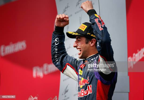 Racewinner Daniel Ricciardo of Australia and Infiniti Red Bull Racing celebrates following his victory during the Canadian Formula One Grand Prix at...