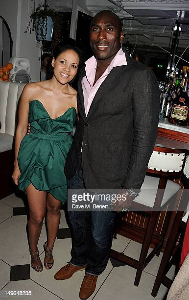 Rachael Barrett and former footballer Sol Campbell attend a private dinner hosted by Rachael Barrett celebrating Jamaica's Emancipation Day at...