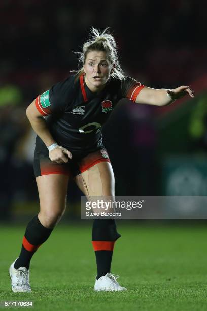 Rachael Burford of England Women call for the ball during the Old Mutual Wealth Series match between England Women and Canada Women at Twickenham...