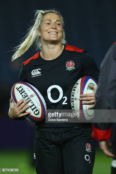 Rachael Burford of England Women during the warm up prior to the Old Mutual Wealth Series match between England Women and Canada Women at Twickenham...