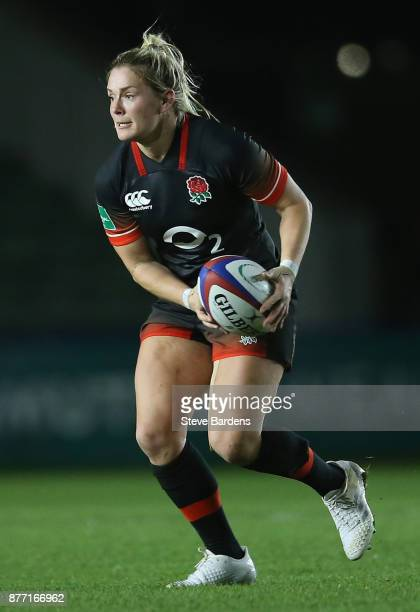 Rachael Burford of England Women in action during the Old Mutual Wealth Series match between England Women and Canada Women at Twickenham Stoop on...