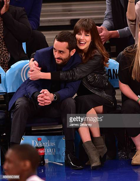 Rachael Emrich and guest attend Minnesota Timberwolves vs New York Knicks game at Madison Square Garden on March 19 2015 in New York City