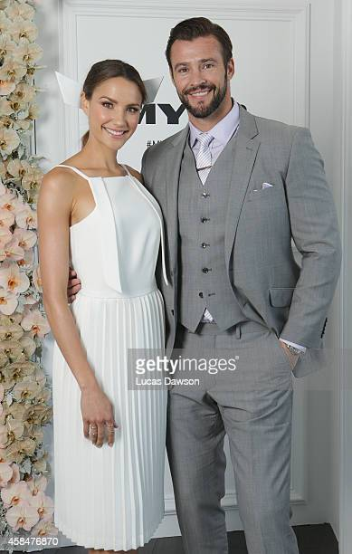 Rachael Finch and Kris Smith at the Myer Marquee on Oaks Day at Flemington Racecourse on November 6 2014 in Melbourne Australia