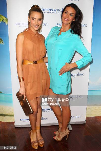 Rachael Finch and Megan Gale attend the Swimwear Galore flagship store launch in Malvern on November 24 2011 in Melbourne Australia