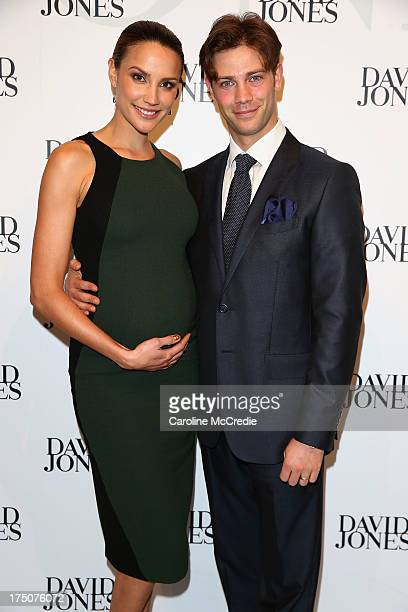 Rachael Finch and Michael Miziner arrive at the David Jones Spring/Summer 2013 Collection Launch at David Jones Elizabeth Street on July 31 2013 in...