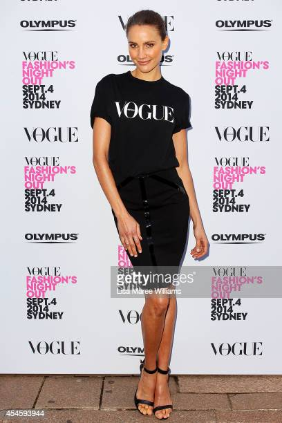 Rachael Finch arrives at the launch of Fashion's Night Out at Hyde Park on September 4 2014 in Sydney Australia