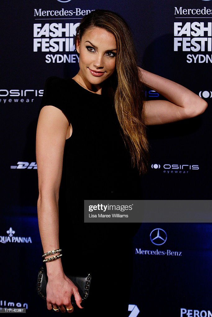 <a gi-track='captionPersonalityLinkClicked' href=/galleries/search?phrase=Rachael+Finch&family=editorial&specificpeople=5521670 ng-click='$event.stopPropagation()'>Rachael Finch</a> arrives at the MBFWA Trends show during Mercedes-Benz Fashion Festival Sydney 2013 at Sydney Town Hall on August 21, 2013 in Sydney, Australia.