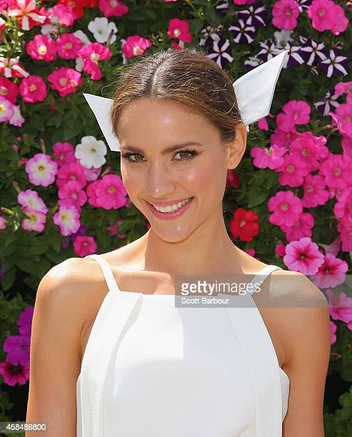 Rachael Finch attends on Oaks Day at Flemington Racecourse on November 6 2014 in Melbourne Australia