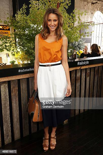 Rachael Finch poses during the DNSW Welcome at MercedesBenz Fashion Week Australia 2015 at Carriageworks on April 13 2015 in Sydney Australia
